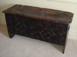James I oak & elm coffer, beautifully gnarled aged lid.